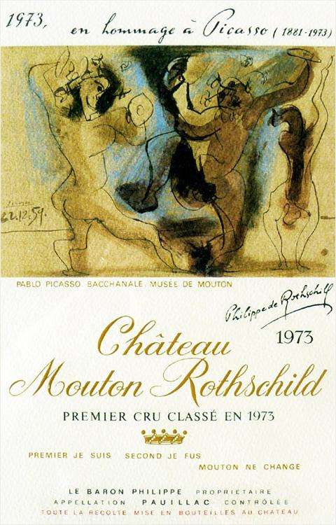 Primeira fotogarfia publicada no artigo Mouton Rothschild e a arte em forma de rótulos